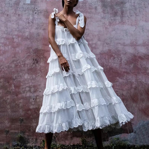 Vintage Ruffled Belted Pleated Dress
