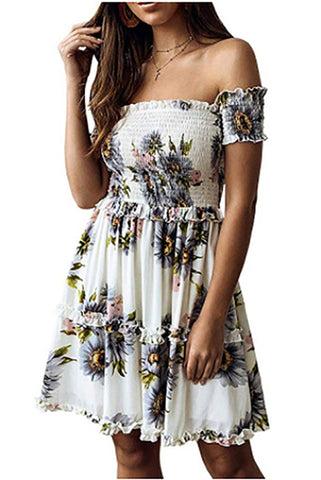 Bohemian Printed One-Shoulder Dress