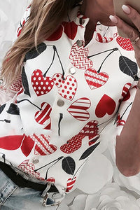 Long-Sleeved Cherry Printing Casual Collar blouse