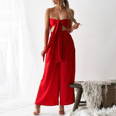 2019 Sexy Wrapped Chest Vest Straight Wide Leg Pants Straight Suit
