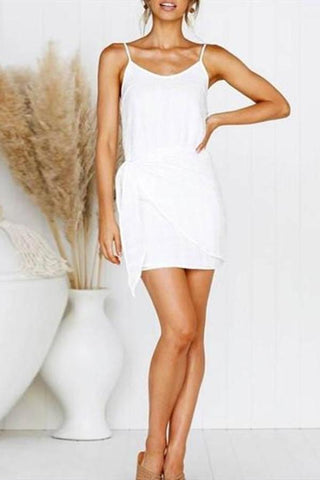 Chiffon Tights Hip Slim Fashion   White Mini Dress