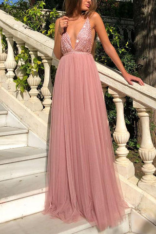 Deep V Sexy Chiffon Backless Maxi Dresses