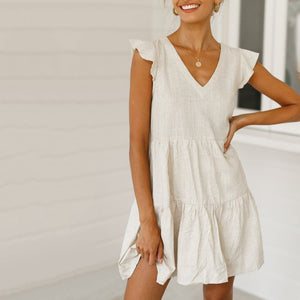 Solid Color V-Neck Loose Casual   Mini Dress