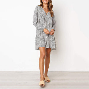 Long Sleeve Printed Loose Large   Size Mini Dress