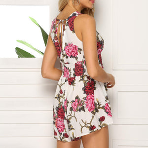 Sexy Printing Deep V Collar Sleeveless Jumpsuits
