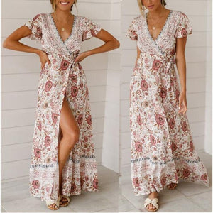 Summer Casual Vacation Print Sexy Dress