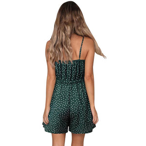 Printed Polka-Dot Sling Strapless Short Rompers
