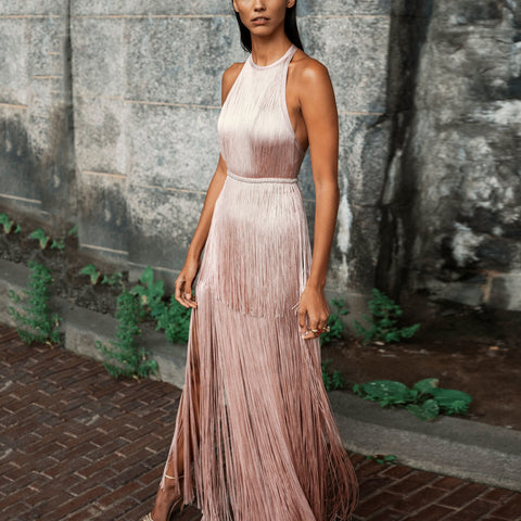 Fashion Elegance Backless Sleveless Tassel Evening Maxi Dress
