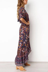 V-Neck Ferrule Positioning Print Maxi Vacation  Dress