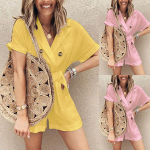 Summer Suit Collar Wide-Leg Short-Sleeved Romper