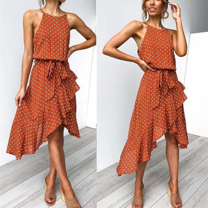 Polka Dot Printed Ruffled Hem   Strap Halter Vacation  Dress
