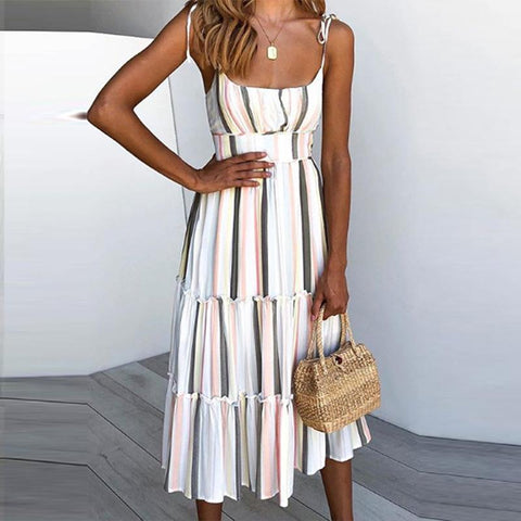 Printed Holiday Sling Straps   Bohemian Vacation  Dress