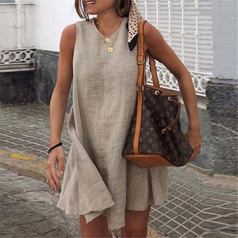 Women Fashion Casual Turtleneck Sleeveless A-line Casual Dress