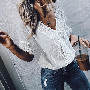 women Fashion casual Lace V neck Short sleeve lace embroidered Shirt