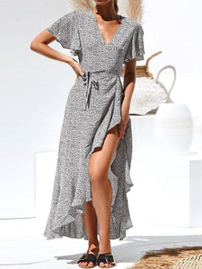 Short-Sleeved Printed   High-Waisted Laced Irregular Chiffon Vacation  Dress