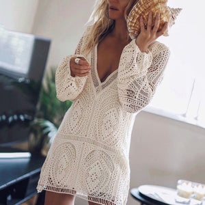 Elegant V Neck Long Sleeve Lace Casual Dress