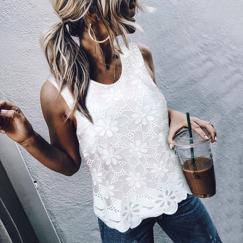 Elegant Round Neck Sleeveless Lace Splicing Chiffon Top Shirt