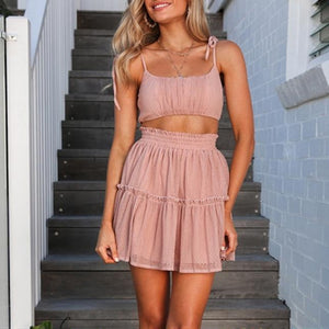 New Sleeveless Sweet Pleated Two Piece Set