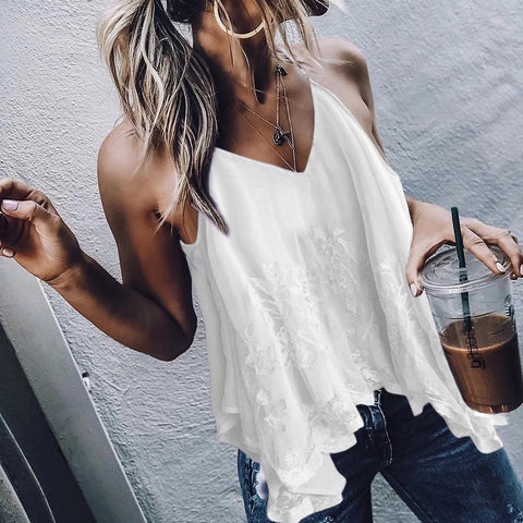 Sexy V Neck Irregular Off-Shoulder Bare Back Tank Top Shirt