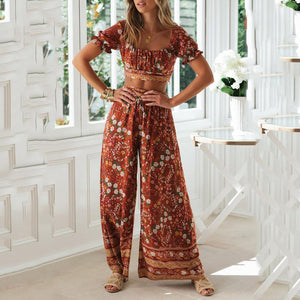 Collarless Short Sleeve Printed Waist Two Piece Set
