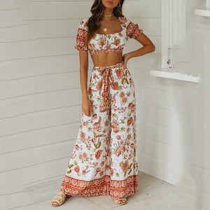 Printed Waist Collarless Short Sleeve Two Piece Set