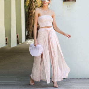 Strapless Waist Top + Split With Lace Pants