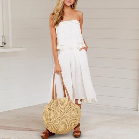 Sleeveless Slim Sweet Wrapped Chest + Cropped Sleeve Wide Leg Pants
