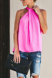 Halter  Plain  Casual Camis Shirt