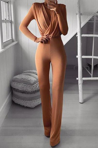 Sexy V Neck Pure Colour Long Sleeve Jumpsuit