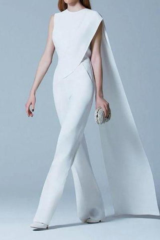 Commuting Pure Colour Sleeveless Skirt Design Jumpsuit