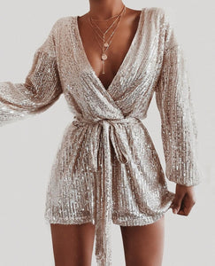 Sexy Deep V Collar Sequins Long Sleeves Evening Mini Dresses