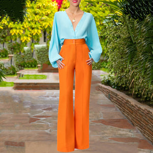 Women Elegant Long Sleeve V-neck High Waist Belted Suit