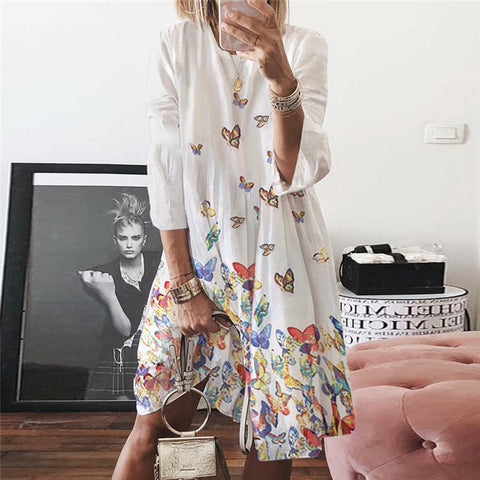 Crew neck abstract print midi sleeves Casual Dress