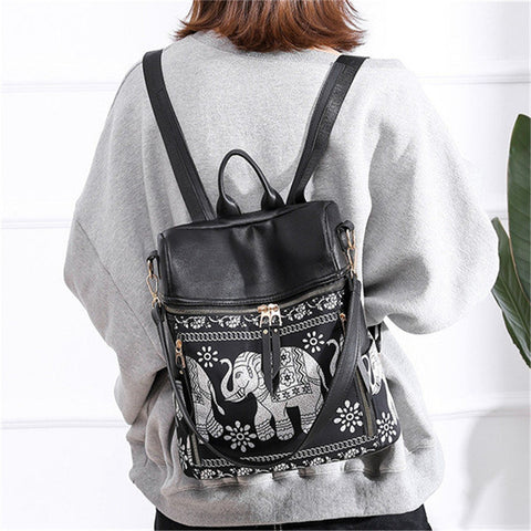 Women National Elephant Backpack PU Leather   Shoulder Bag