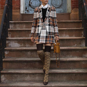 Classic Plaid Pocket Turndown Collar Tailored Skirt Suit Coat