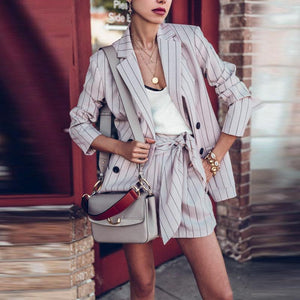Casual Striped Long-Sleeved Suit Jacket And Shorts Suit Jacket