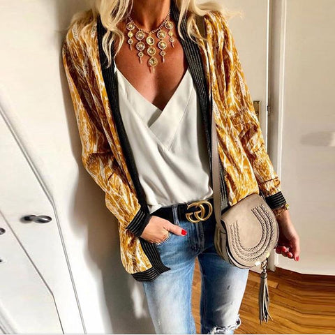 Fashion Printed Stitching Long Sleeve Cardigans