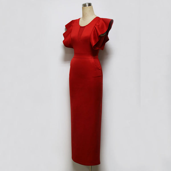 Round Collar Speaker Sleeve Slim Evening Dress