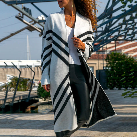 Fashion Stripe Knee-Length Knit Cardigan
