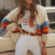 Fashion Casual Color Striped Long Sleeve Knit Cardigans Sweater