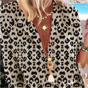 Women's Long Sleeve Leopard Suit Collar Long Sleeve Shirt Blouse