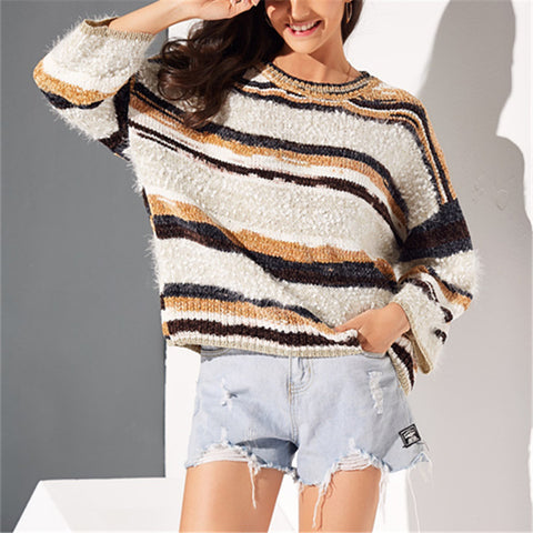 Fashion Stitching Color Long Sleeve Sweater
