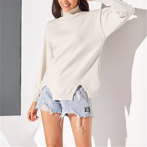 Simple Solid Color High Collar Long Sleeve Sweater