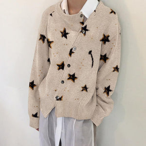 Little Star Fashion Irregular Knitwear Slanting Buckle Cardigan