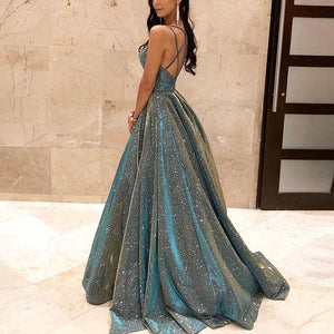 Sexy Sparkling Crystal Backless Swinging Evening Dress