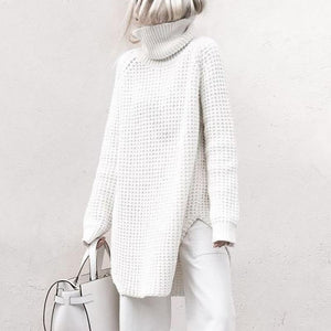 Fashion Knit High Collar Long Sleeve Pure Colour Sweater