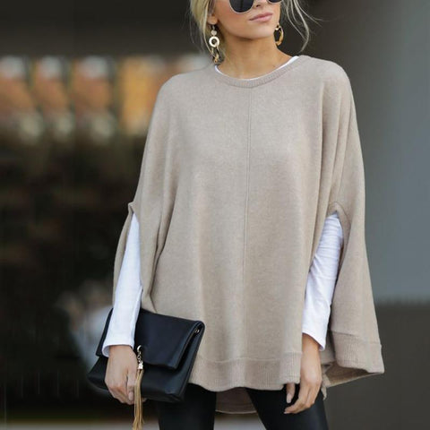 Brief Pure Color Round Neck Sweater