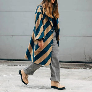 Casual Striped Long Sleeve Coat