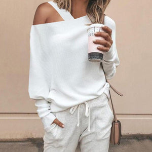 Fashion Sexy Shoulder Out Puff Sleeves Knit Sweater