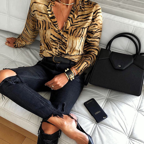 Fashion Flap Pockets Tiger Printed Leopard Fold-Over Collar Shirt Blouse